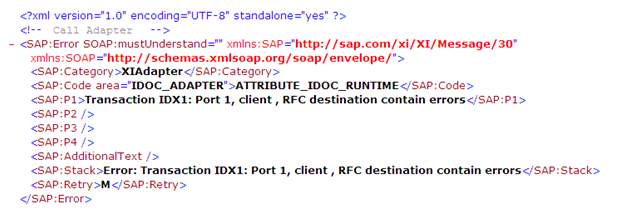 """Error: Transaction IDX1: Port 1, Client, RFC Destination contain Errors"" Error detail in message monitor"