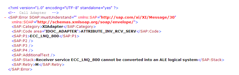 """Receiver service cannot be converted into ALE logical system"" message monitor XML detail"