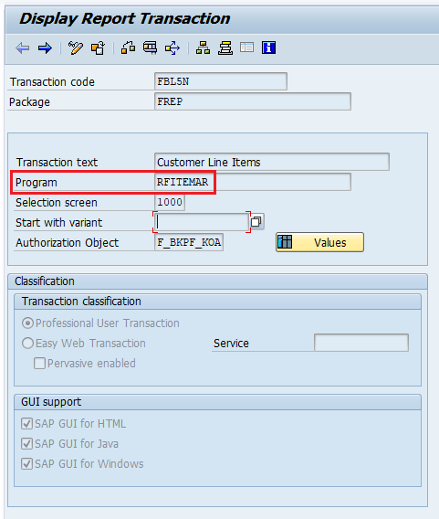 ABAP Program name of the Transaction Code displayed in transaction se93.
