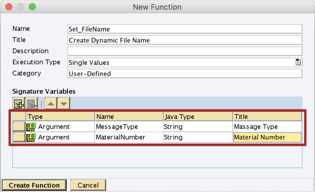 Configure dynamic file name UDF import parameters