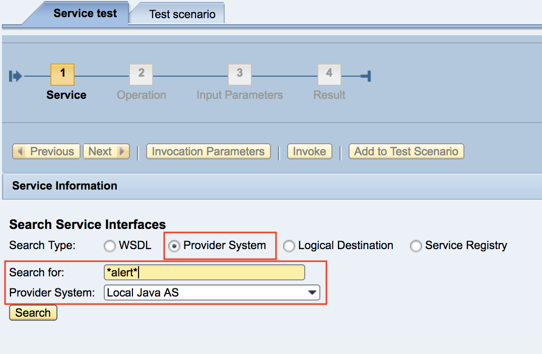 Select Service as Provide System in Alert Registration Wizard