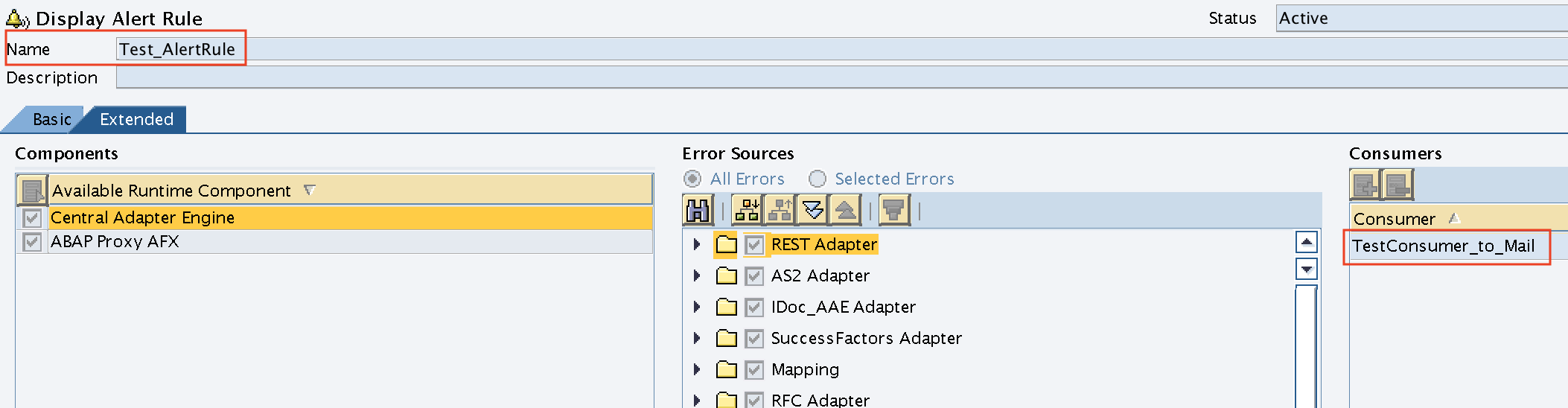 Validate if Alert Consumer is assigned to Alert Rule in Integration Directory