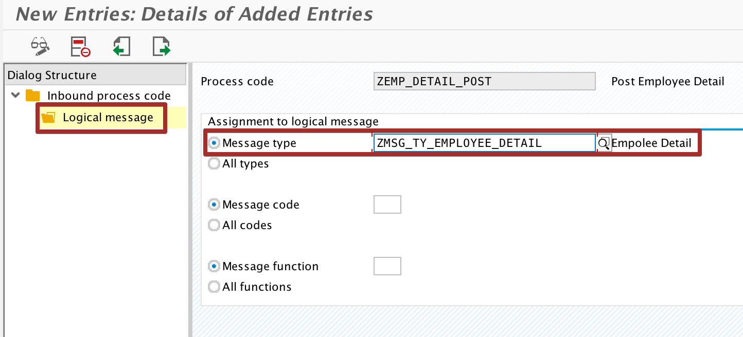 Assign logical Message Type to Process Code
