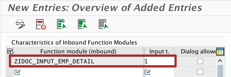 configure inbound Function Module parameters