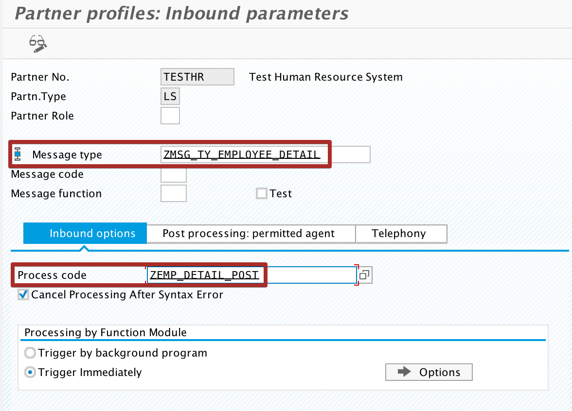 Configure Message type, Process Code and Processing Type for Inbound Parameter