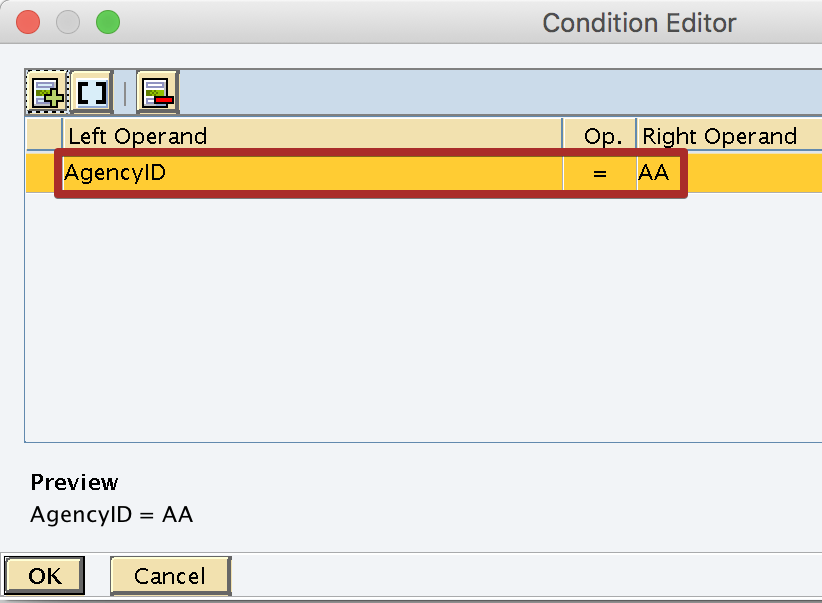 Condition Editor with Context Object