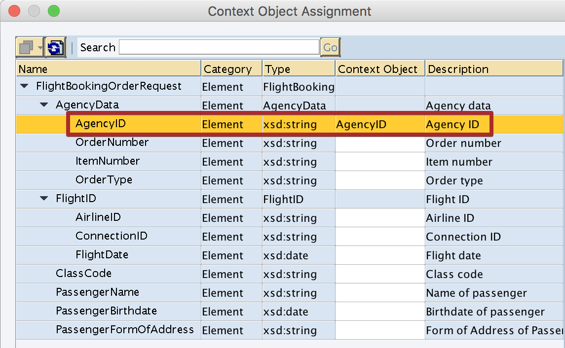 Assignment of Context Object to Xpath element of Outbound Service Interface