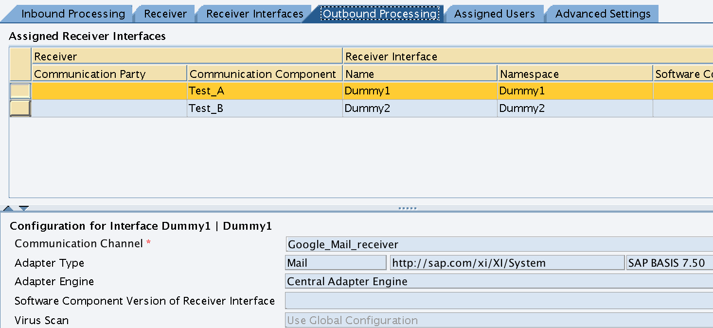 Integration Configuration Scenario - Outbound Processing for Receiver A