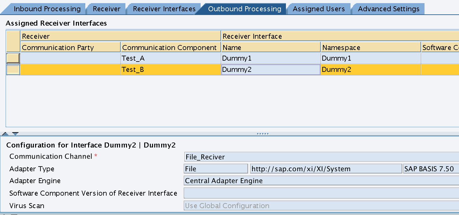 Integration Configuration Scenario - Outbound Processing for Receiver B