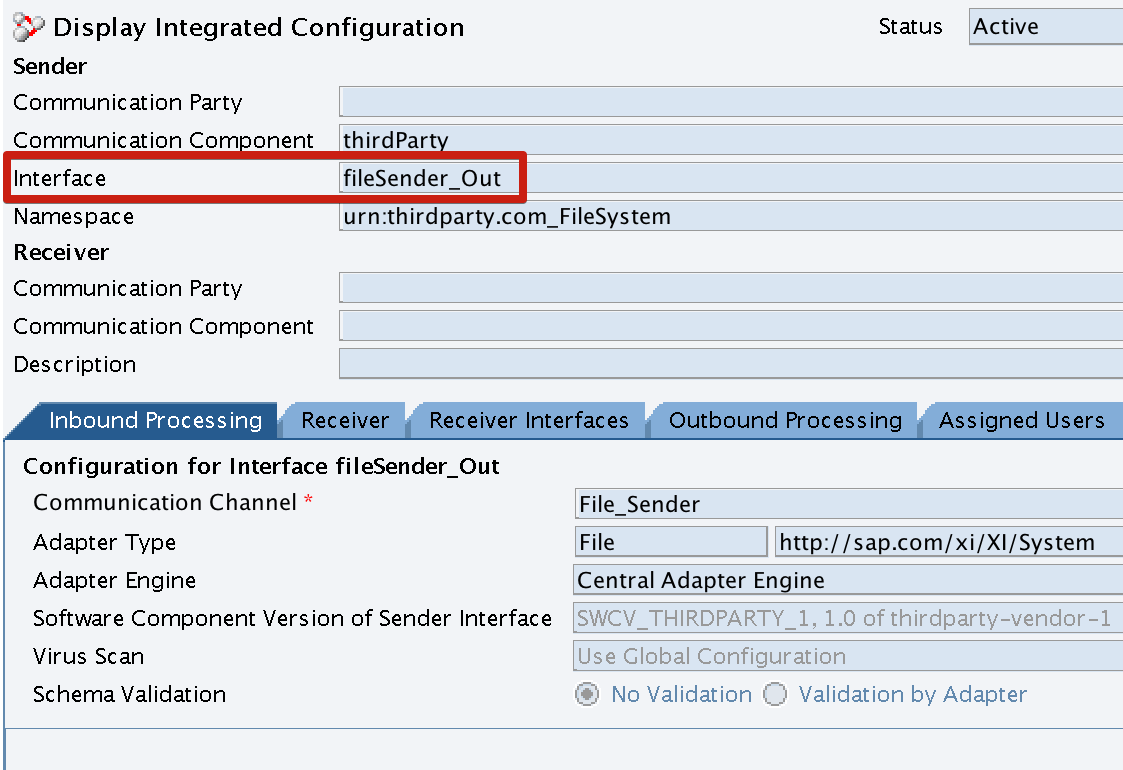 Integration Configuration Object Inbound Processing Configuration