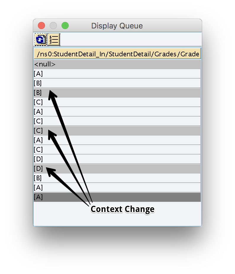 Context change shown in dark gray in Graphical Mapping queue