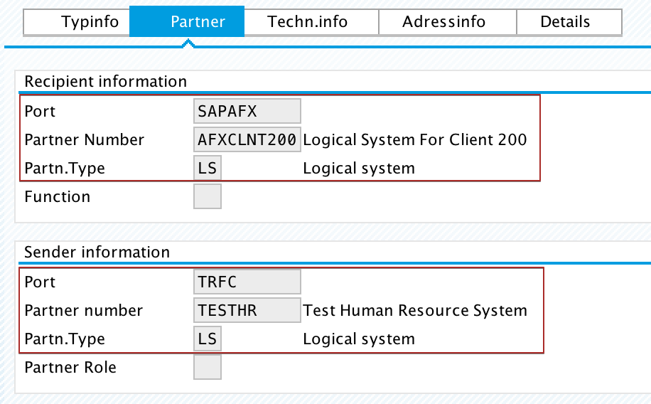iDoc Control Record parameters Sender Partner (SNDPRN), Sender Partner Type (SNDPRT), Sender Partner Port (SNDPOR) assigned from PI in target SAP system. iDoc Control Record view in we02
