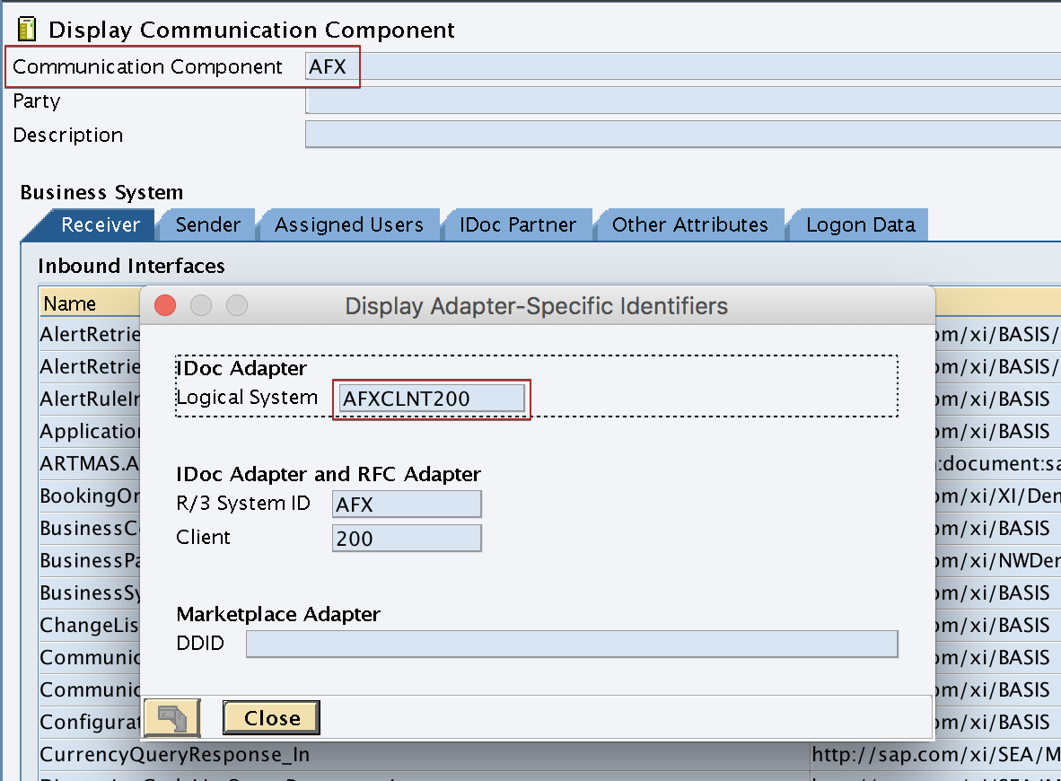 """Logical System name of the receiver SAP Business System """"AFX"""" under Adapter Specific Message Attributes (ASMA)"""