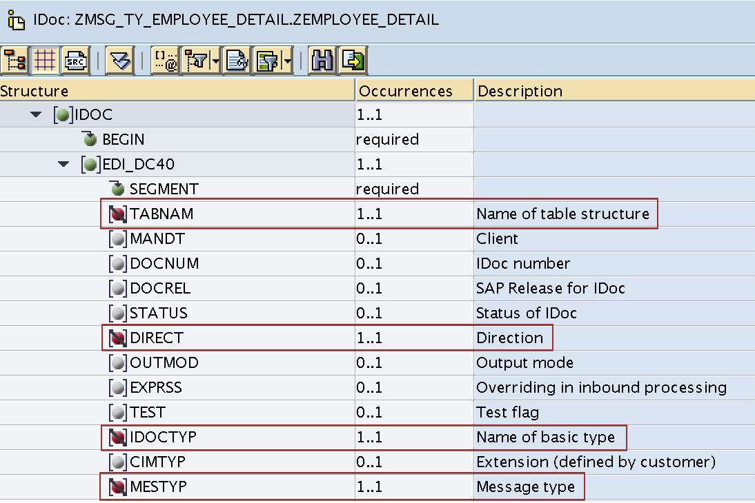 Mandatory or required fields in target iDoc structure are disabled