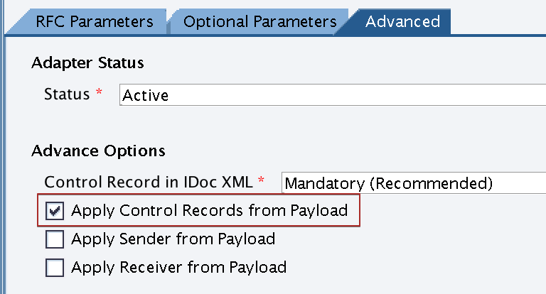 Activate 'Apply Control Records from Payload' option in receiver iDoc_AAE adapter Communication Channel