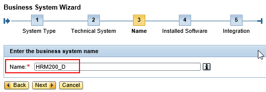 Assign a value for the name of the new Business System