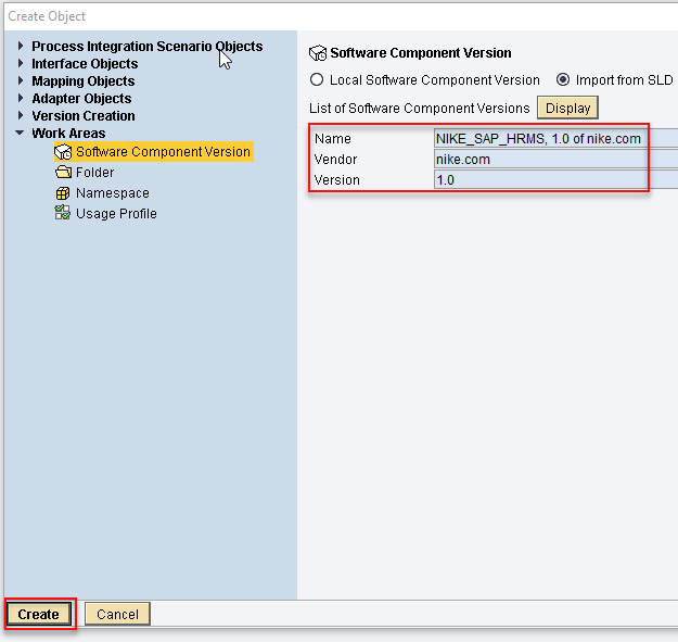 Click create to complete the import of SWCV from SLD