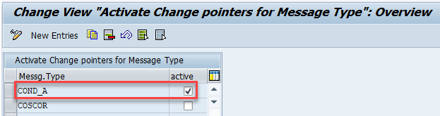 Activate Change Pointers for Message Type COND_A