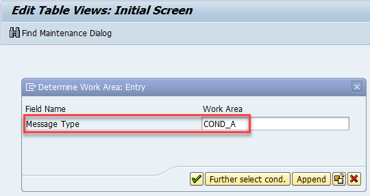 Field selection for COND_A message type