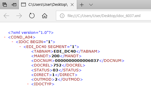 iDoc data downloaded in XML format to local drive using Z custom ABAP code