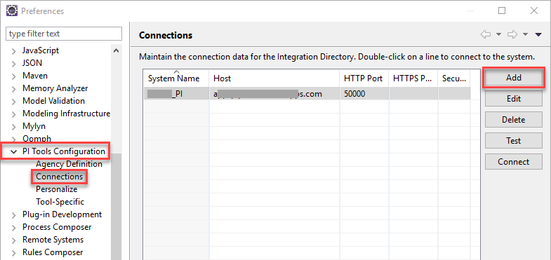 PI Tools Configuration - Add Connections in Eclipse preferences