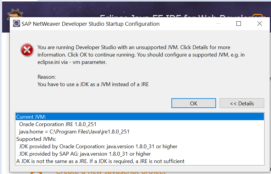 Unsupported JVM error pop up in NWDS
