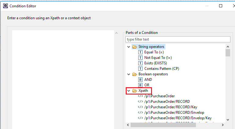 Define Xpath condition in iFlow. Select the Xpath