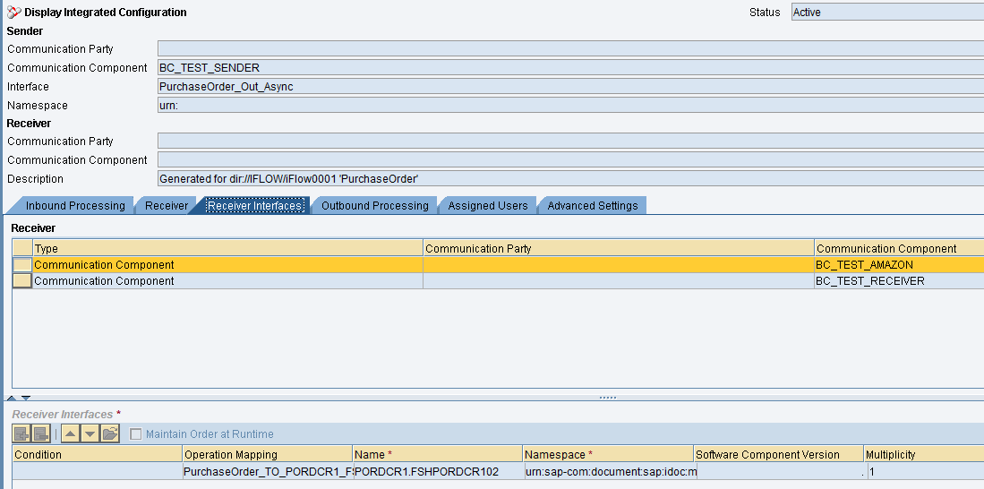 Integration Configuration object created from iFlow