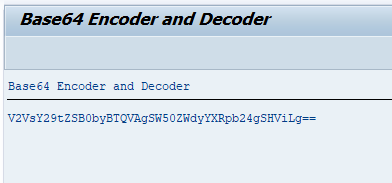 SAP ABAP Encoder and Decoder Program output screen.