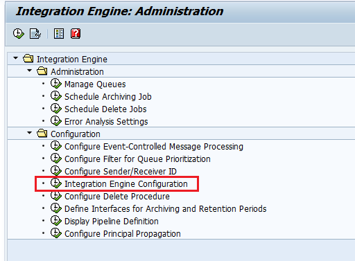 Select Integration Engine Configuration node of SXMB_ADM administrator