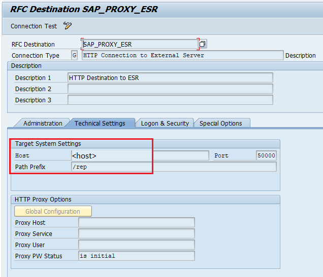 http destination in SAP back-end system to ESR. Host and path prefix configured. HTTP destination name SAP_PROXY_ESR.