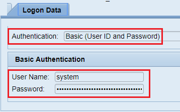 Maintain authentication method of HTTP destination. Basic Authentication with user ID and Password.