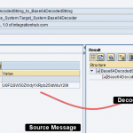 Source and target messages of Base64 decoding example in ESR operation mapping test.