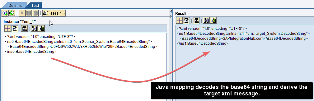 Desired message mapping from base64 java mapping in XML format in ESR.