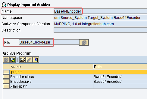 Imported Archive from Base64 java class in SAP PI ESR