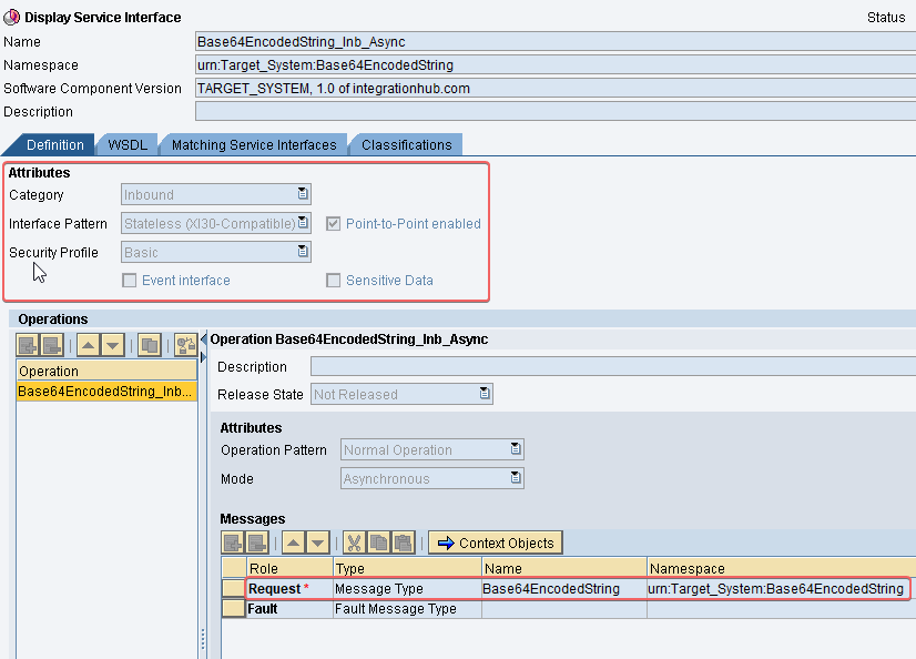 Inbound Service Interface for target for base64 java mapping example SAP PI PO