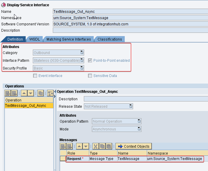 Output Service Interface for sender for base64 java mapping example SAP PI PO