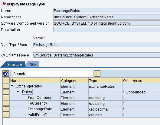 Input Message Type for XML exchange rate sender message in ESR