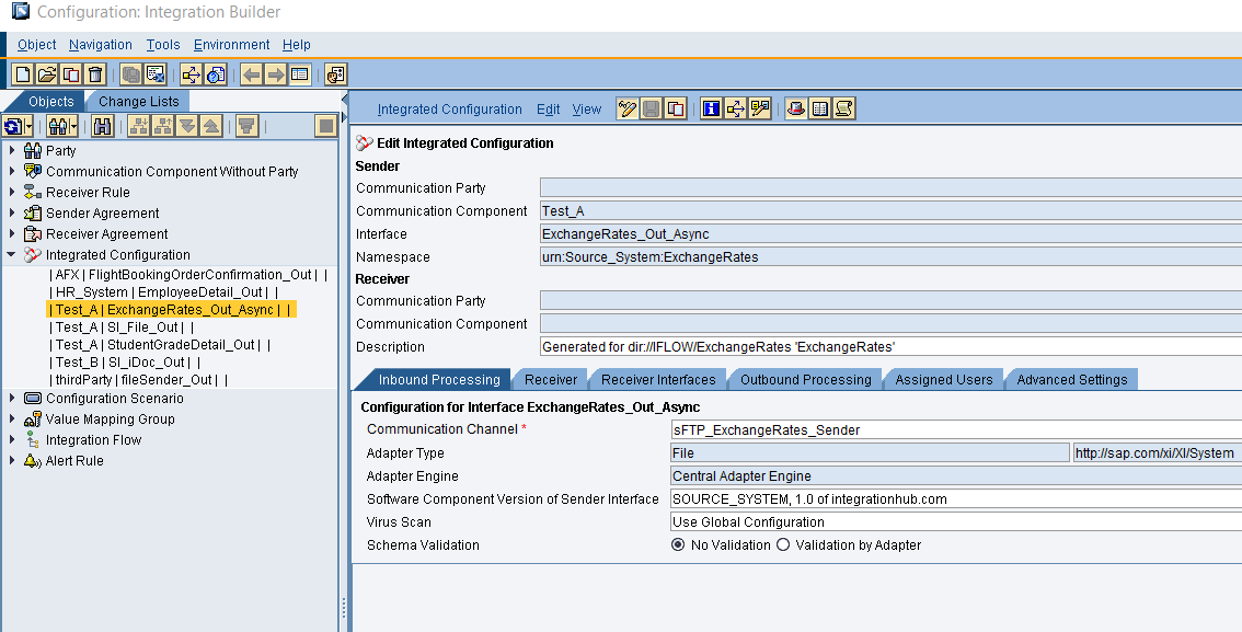 Integrated Configuration created in ID swing client