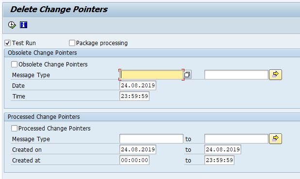 Selection screen of Change Pointers clearing program RBDCPCLR with options, obsolete change pointers, message type, data, time, processed change pointers, message type, created on, created at and test run.
