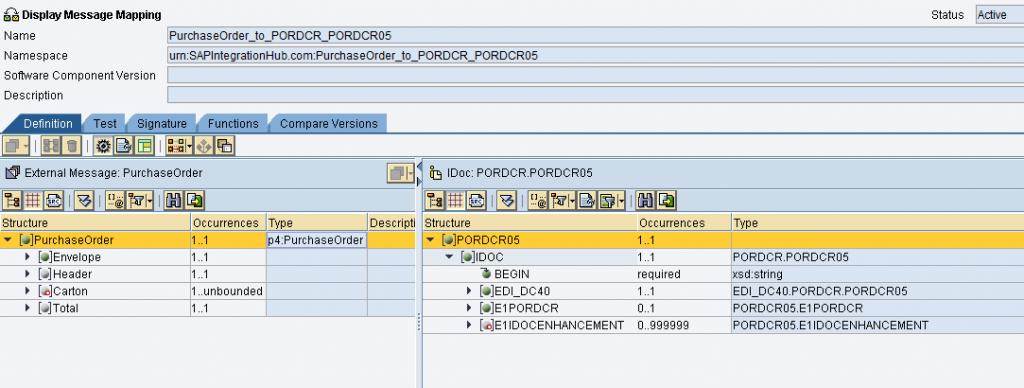 Message mapping between EDI XSD (XML format) and PORDCR.PORDCR05 idoc structure in ESR