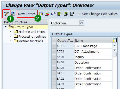 Add new sales order output under application area Sales (V1) in NACE