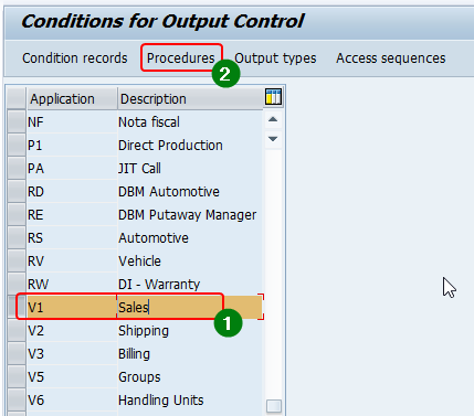 Select procedures of application area Sales (V1) from transaction NACE