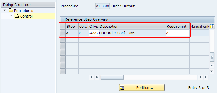 New step added to output procedure X10000 with step number as 30, output type ZOOC and requirement as 2.