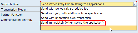 Different Dispatch Time options of Output Type, send with scheduled job and send immediately (when saving the application)