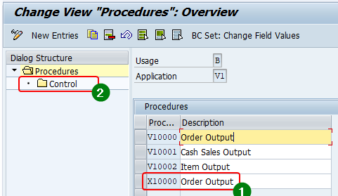 Access the output procedure of the sales areas and select the output procedure assigned to the document type. Output procedure X0001 is assigned to document type XSTA