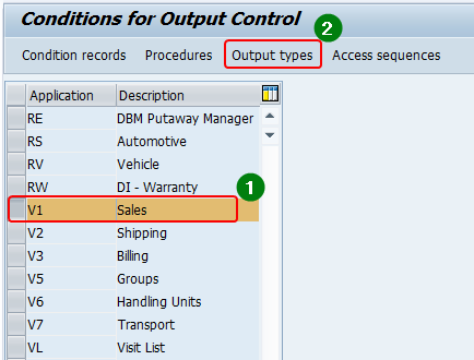 Output configuration via NACE. Application area Sales (V1). Select the application area and Output type
