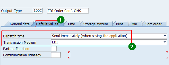 Default values of Output Type with parameters Dispatch time, Transmission media set as EDI and Partner Function and Communication Strategy