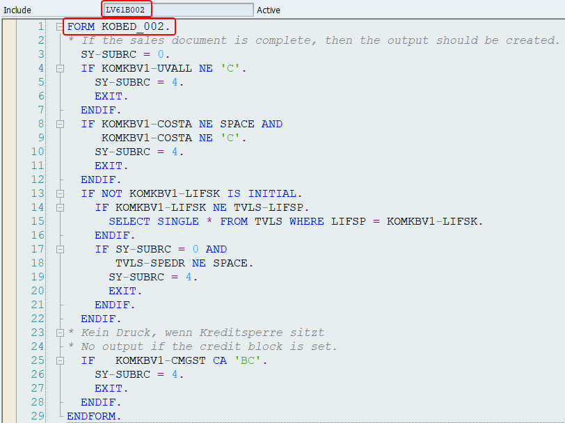 ABAP code for routine 2 (order confirmation) - Form KOBED_002