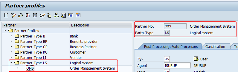 New partner profile (logical system)created in we20.